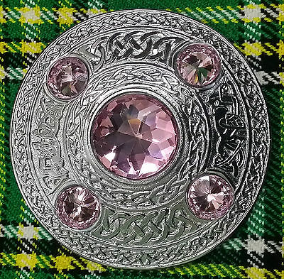 "HW Kilt Fly Plaid Brooch Pink Stone Silver Finish 4""/Celtic Brooches Fly Plaid"
