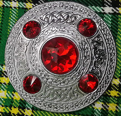 "HE Scottish Fly Plaid Brooch Red Stone Silver Finish 4""/Celtic Pattern Brooches"