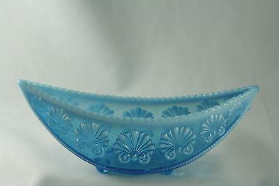 """Davidson Opalescent """"War of The Roses"""" Blue Glass Pearline Posy Bowl 1893"""