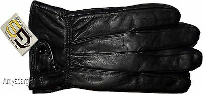 Men's Size (XXL) Leather Gloves, Winter gloves, lined warm Black leather gloves
