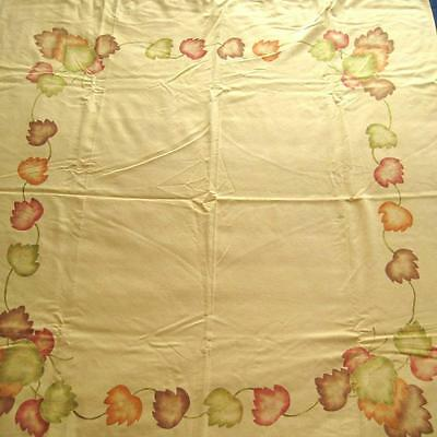 Vtg Printed Cotton Tablecloth Yellow w Autumn Leaves 4 Napkins 45 by 53 Inches