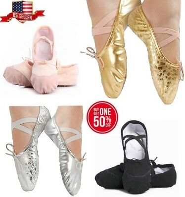 Ballet Dance Gymnastics Slipper Shoes Gold Silver Leather Canvas Khaki Black