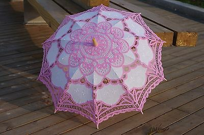 Handmade Pink and White Lace Parasol Umbrella Wedding Party Bridal 30 Inch