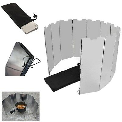 10 Plates Fold Camping Cooker Gas Stove Wind Shield Screen Foldable Outdoor