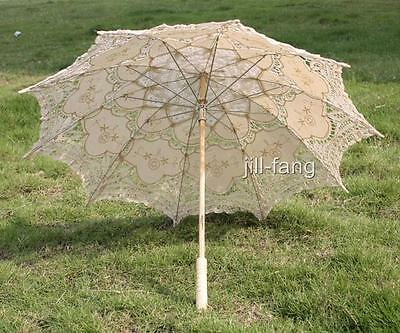 Battenburg Ivory/cream/beige Lace Parasol Umbrella Wedding Bridal 30 Inch