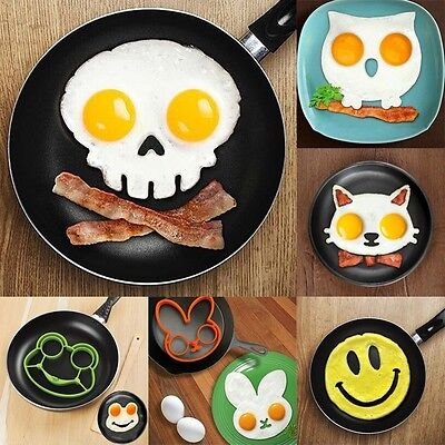 Silicone Funny Side Up Skull Egg Fried Frying Mould Breakfast Pancake Mold Ring