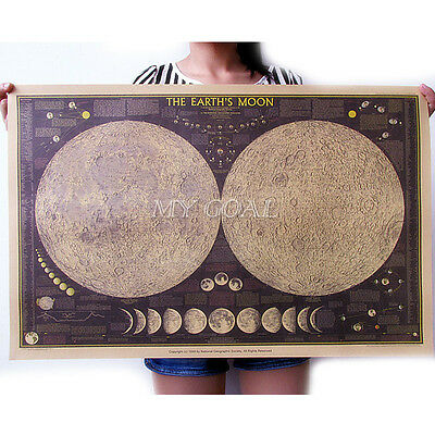 """Vintage World Map Of Earth's Moon Geographic Paper Poster Wall Chart 28"""" x 18"""""""