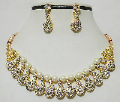 Indian Gold Plated Kundan Bollywood Fashion Costume Earring Necklace Jewelry Set