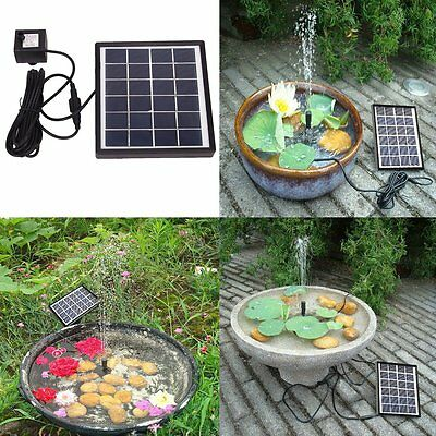 Solar Powered Garden Fountain Pond Pool Water Submersible Landscape Pump Kit New