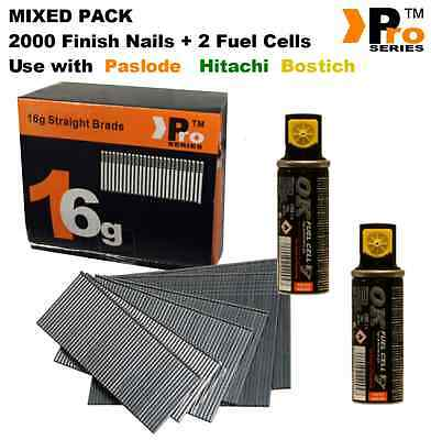 MIXED PACK -Paslode Hitachi Bostitch 2000 16G Finish Nails + 2xFuel Cells