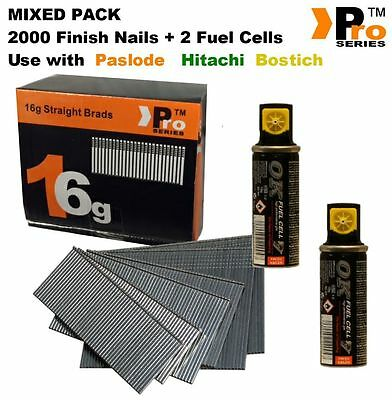 MIXED PACK -Paslode Hitachi Bostitch 2000 16G Finish Nails + 2xFuel Cells   018