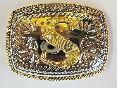 "Initial "" S "" Rodeo Cowboy Letter Shine Regular Gold Silver Western Belt Buckle"