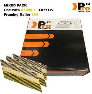 MIXED PACK 2000 Framing Nails for DEWALT 18v Cordless First Fix