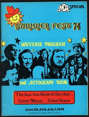 MCQ SPECIAL SOUVENIR PROGRAM Summer-Fest 1974 BARRIE Country Music Gordie Tapp