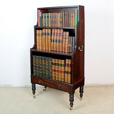 Antique Georgian Campaign Stained Pine Waterfall Bookcase *UK Delivery £100
