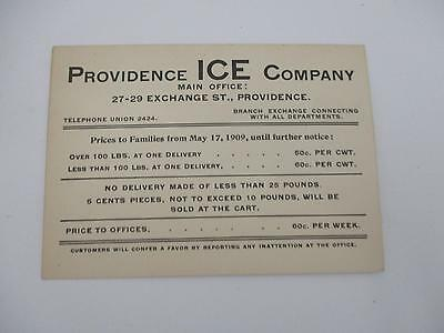 C1900 advertising card PROVIDENCE ICE COMPANY EXCHANGE ST.