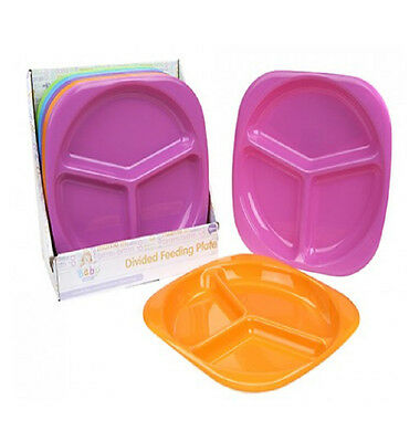 Babies Divided Plate Kids Toddler Baby Dinner Feeding Bright Colours