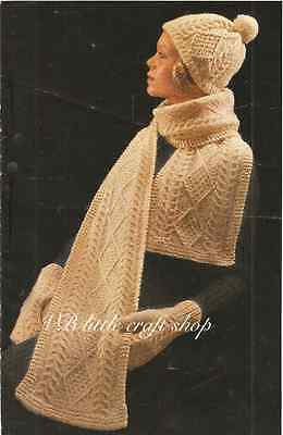 Knitting Pattern Ladies Hat Scarf And Mitts Aran Lovely Winter