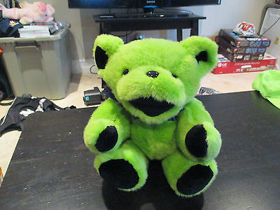 """Grateful Dead 13"""" Teddy Bear 1990 Green Jointed With Original Concert Tag Plush"""