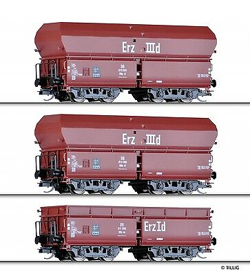"TILLIG 01710 TT Set Of 3 Self-unloading wagon ""Ore train 1"" DB Epoch IV"