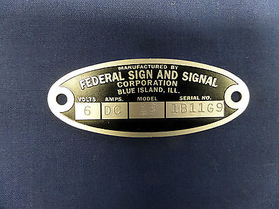 Federal Sign and Signal Siren Replacement Badge 28-W-WG-WL-WLR-EG-EGH-O-VL-VG