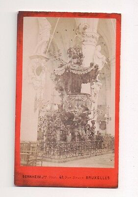 Vintage CDV Pulpit of Truth Cathedral of Our Lady Antwerp Belgium Bernheim Photo