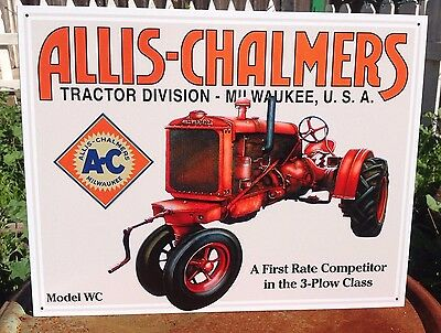 ALLIS CHALMERS 3 PLOW CLASS MODEL WC Tractor Tin Metal Sign Wall Garage Classic