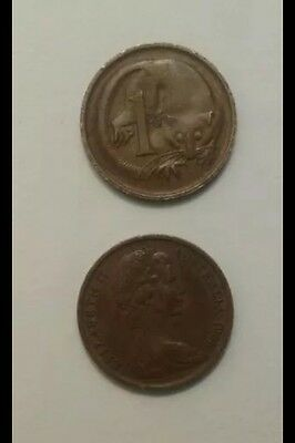 1966 Australian 1 Cent Coin 1c First year of release