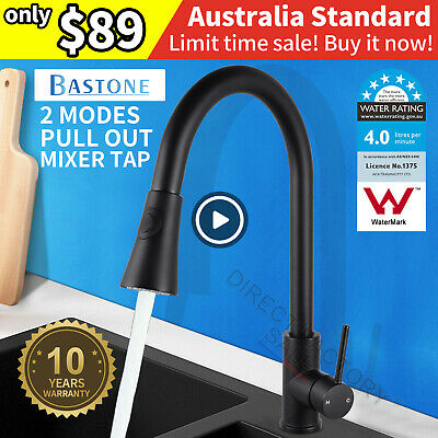 Black Plated Kitchen Sink Mixer Tap 360°Swivel Pull Out Spray Basin Faucet Brass
