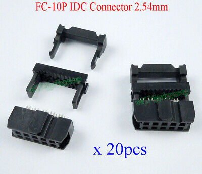 20pcs FC-10P IDC 2.54mm Connector Female Header 10pin 2x5 JTAG ISP Socket Black
