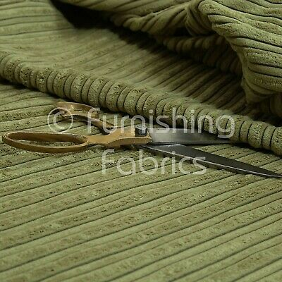 Furnishing Upholstery Fabric High Low Soft Velvet Textured Cord New Green Colour
