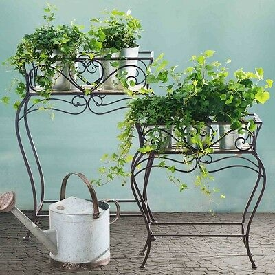 Wrought Iron Wood Plant Stand Set of 2 Scrollwork Display Home Decor Stands New