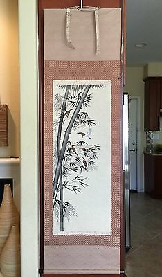 JAPANESE HANGING SCROLL Bamboo And Birds Vintage