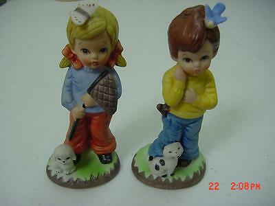 Lot Two Boy And Girl Figurines Label Fbia Taiwan Rep Of China