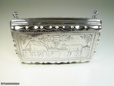DIVINE 1800's Hand Made Engraved Scenic Horse & Bull Continental Silver Box