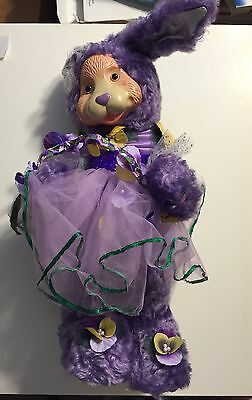 """ROBERT RAIKES Collectibles """"Pansy"""" #142/500 Signed 15"""" Purple Mohair Rabbit"""