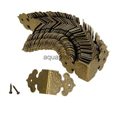 100x Corner Angle Brace Protector for Wood Trunk Box Chest Vintage Golden