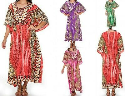 Women's Moroccan Ombre Caftan Hippie Kaftan Beach Dress Cover up Boho One Size