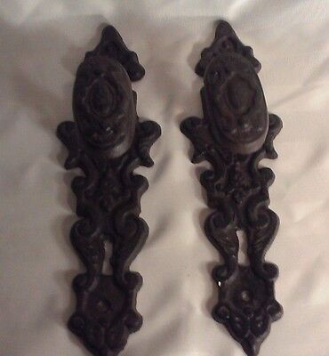 "Set/2 Old Cast Iron Antique Style Door Knob Gate Handle Pulls 11"" Back Face Key"