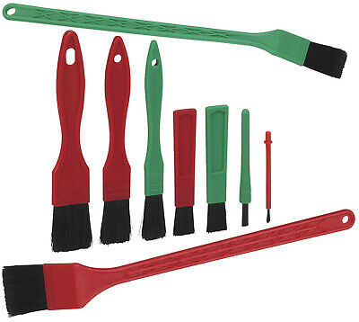 Vikan Quality Detailing Brush Set - 2 Long Handled & 7 Mixed Detail Brushes