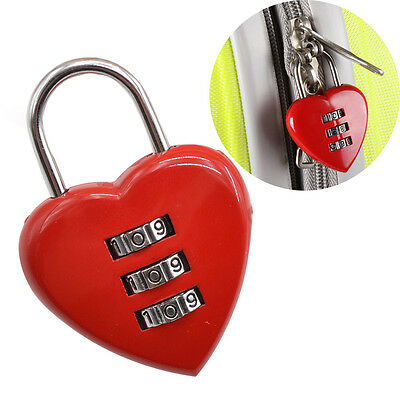Lovely Heart Shaped 3 Digit Combination Password Lock Padlock Love Couple Travel