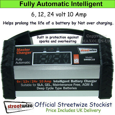 Battery Charger Streetwize 6v 12v 24v 10 Amp Fully Automatic Intelligent Car Van