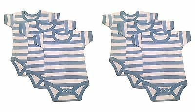 new blue striped short sleeve baby vests grow romper 0-24 months pack of 3 or 6