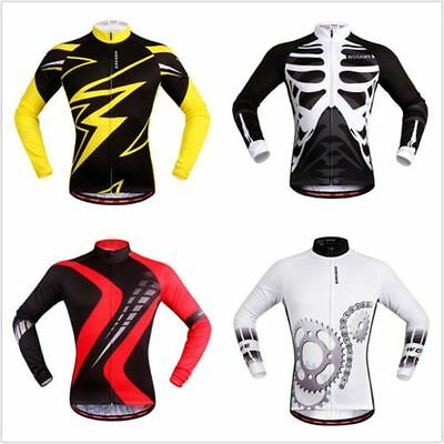 New Cycling Road Team Bike Racing Long Sleeve Tops Shirt Jersey With Zipper