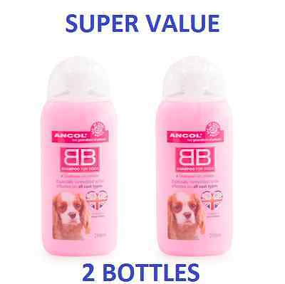 Ancol BB Baby Powder 2in1 Dog Shampoo & Conditioner 2 x 200ml Bottles All Coats