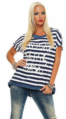 Damen Shirt im Jeans Look, Blusen, Top gestreift, T-Shirt, Tunika