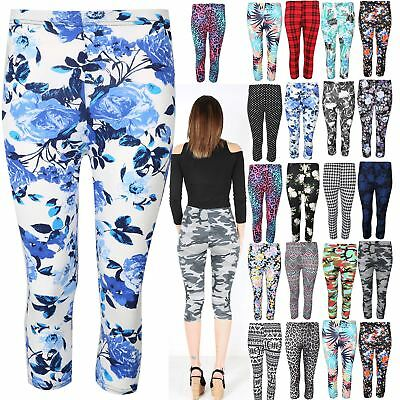 Women Printed 3/4 Length Leggings Ladies Stretchy Waist Skinny Pants Size 8-22