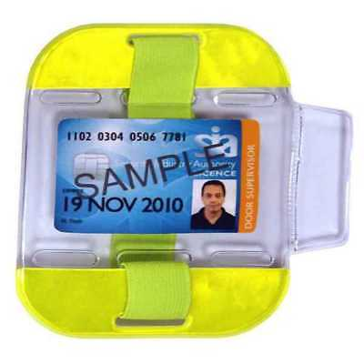 ID/SIA License Badge Holder - Arm Band High Viz Yellow Security Festival