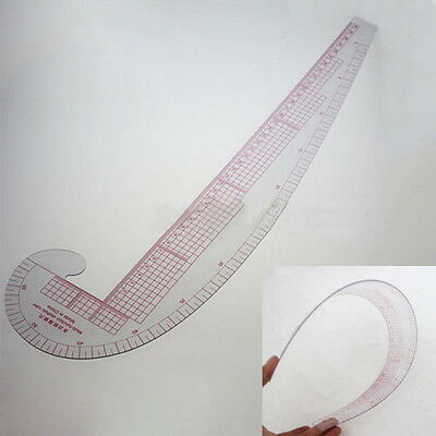 3 In 1 Styling Design Soft Plastic Ruler French Curve Hip Straight Ruler Comma#E