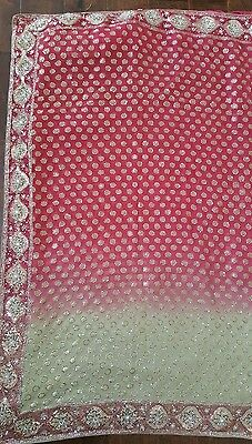 Ethnic Indian Party Wear Shaded Embroidered Sequins Saree Wedding Bollywood Sari